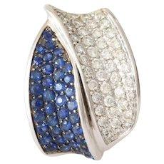 Diamond Sapphire Gold Pendant | 18K Vintage Israel | Blue White Round