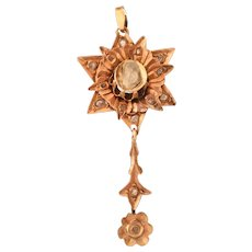 Ottoman Diamond Star Pendant | 9K Rose Gold | Antique Pin Rose Cut