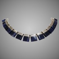 Lapis Lazuli Choker Necklace | Sterling Silver Links | Vintage Mexico