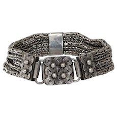 Vintage Yemeni Silver Bracelet | Afghan Four Row | Ethnic Berber 925