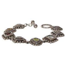 Multi Gem Silver Bracelet | Amethyst Garnet Peridot | Link Chain 925
