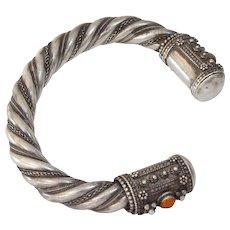 Silver Carnelian Cuff Bracelet | Yemeni Afghan Vintage | Berber Bedouin