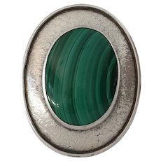Malachite Silver Brooch Pendant | Cabochon Sterling | Vintage Israel