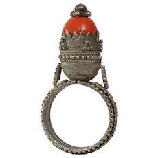 Antique Afghan Tower Ring | Kuchi Ethnic Tribal | Vintage Bead Boho