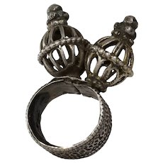 Antique Yemeni Tower Ring   Sterling Silver   Afghan Ethnic Bedouin