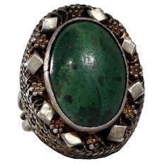 Eilat Stone Ring | Sterling Silver Israel | Vintage Cocktail Judaica