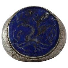 Lapis Lazuli Afghan Intaglio Ring | Pegasus Kuchi Silver | Ethnic Signet