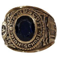 Swampscott High School Ring | 14K Yellow Gold | Vintage Spinel Class