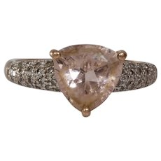 Pink Zircon Diamond Engagement Ring | 9K Bicolor Gold | Vintage Cocktail
