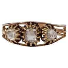 Georgian Three Stone Diamond Ring | 18K Rose Gold | Antique Victorian