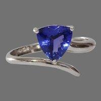 Tanzanite Engagement Ring | 14K White Gold | Vintage Trilliant Cut