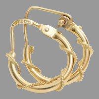 Gold Hoop Earrings   14K Yellow Rope Pattern   Vintage Italy Hinged