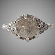 Uncut Diamond Engagement Ring   Platinum Rough Round   Cocktail Rose Cut