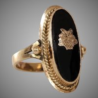 Retro Onyx Cocktail Ring | 14K Yellow Gold | Vintage Flower Basket
