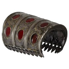 Turkmen Silver Cuff Bracelet | Red Glass Turkman | Vintage Tribal Afghan