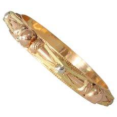 Algerian Gold Bracelet Bangle | 21K Tricolor Vintage | Ethnic Berber