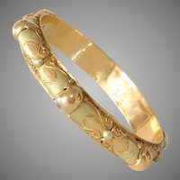Algerian Gold Bangle Bracelet | 21K Bicolor Vintage | Berber Ethnic