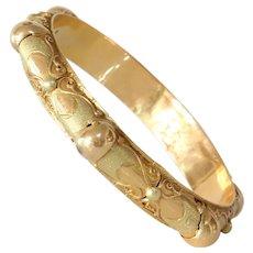 Algerian Gold Bangle Bracelet | 21K Bicolor Vintage | Berber Ethnic