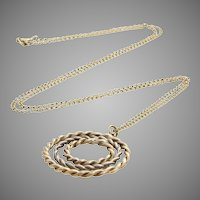 Retro Pendant Necklace | 9K Yellow White Gold | Vintage Bicolor Chain