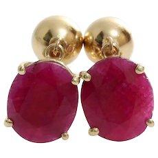 Oval Ruby Drop Earrings | 14K Yellow Gold | Vintage Dangle Israel