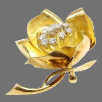 Flower Brooch Pendant | 18K Yellow Gold Diamond | Vintage Rose Pin