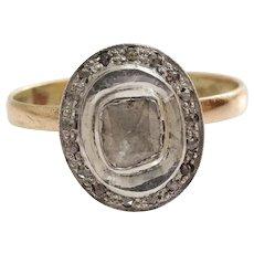 Square Cut Diamond Ring | 14K Yellow Gold Silver | Vintage Cocktail | 14K Yellow Gold Silver | Vintage Cocktail