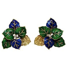 Enamel Leaves Diamond Earrings| 18K Yellow Gold | Vintage Omega Back