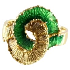 Enamel Love Knot Gold Ring | 18K Yellow Green | Vintage Eternity Band