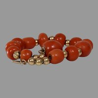 Victorian Coral Bead Bracelet | 14K Gold Salmon | Antique Orange Yellow