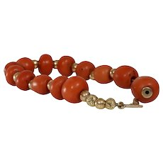 Victorian Coral Bead Bracelet | 14K Yellow Gold | Antique Orange Salmon