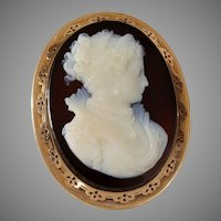 Victorian Hardstone Cameo Brooch Pendant | 18K Gold Pin | Antique France