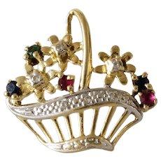 Flower Basket Pendant | 14K Bicolor Gold Ruby | Vintage Charm Israel