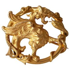 Art Nouveau Winged Lion Brooch | 18K Gold Griffin | Victorian Pin France