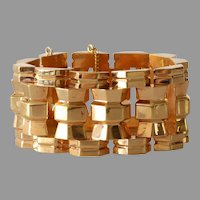 Retro Wide Link Bracelet | 18K Rose Gold | Vintage Chunky Jewelry
