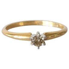 Brown Diamond Engagement Ring  14K Gold Bicolor   Vintage Solitaire