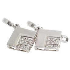 Cubic Zirconia Drop Earrings | 14K White Gold | Vintage Dangle Israel