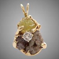 Uncut Fancy Diamond Pendant | 14K Yellow Gold | Vintage Retro Rough