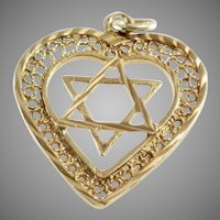Magen David Heart Pendant | 18K Yellow Gold | Star Charm Vintage