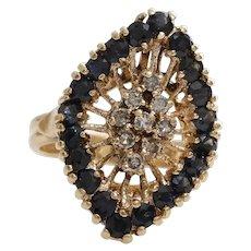 Diamond Sapphire Cocktail Ring | 14K Yellow Gold | Vintage Retro Round