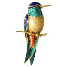 French Enamel Hummingbird Brooch | 18K Yellow Gold | Vintage Retro Pin