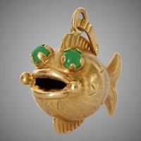 Fish Emerald Gold Pendant | 18K Yellow Charm | Vintage France