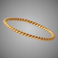 Twisted 18K Yellow Gold Bangle | Antique Bracelet | French Victorian