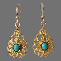 Persian Turquoise Drop Earrings | 18K Gold Cabochon | Vintage Filigree