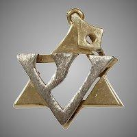 Magen David Pendant | 14K Bicolor Gold | Vintage Judaica Star Charm