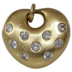 Diamond Heart Pendant Charm | 18K Yellow Gold | Vintage Brilliant Cut