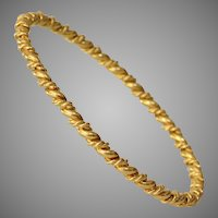 Twisted 18K Yellow Gold Bangle | Victorian Bracelet | Antique French
