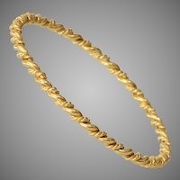 Twisted 18K Yellow Gold Bangle | Victorian Bracelet | Antique France