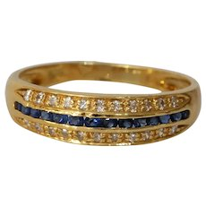 Vintage Sapphire Diamond Row Ring | 18K Yellow Gold | French Cocktail