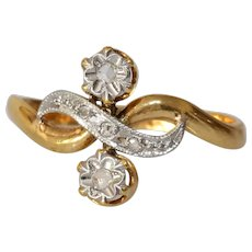 Edwardian Two Stone Diamond Ring | 18K Bicolor Gold | Eternity Engagement