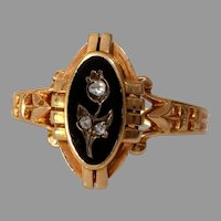 Victorian Onyx Diamond Mourning Ring | 18K Rose Gold | Antique Flower